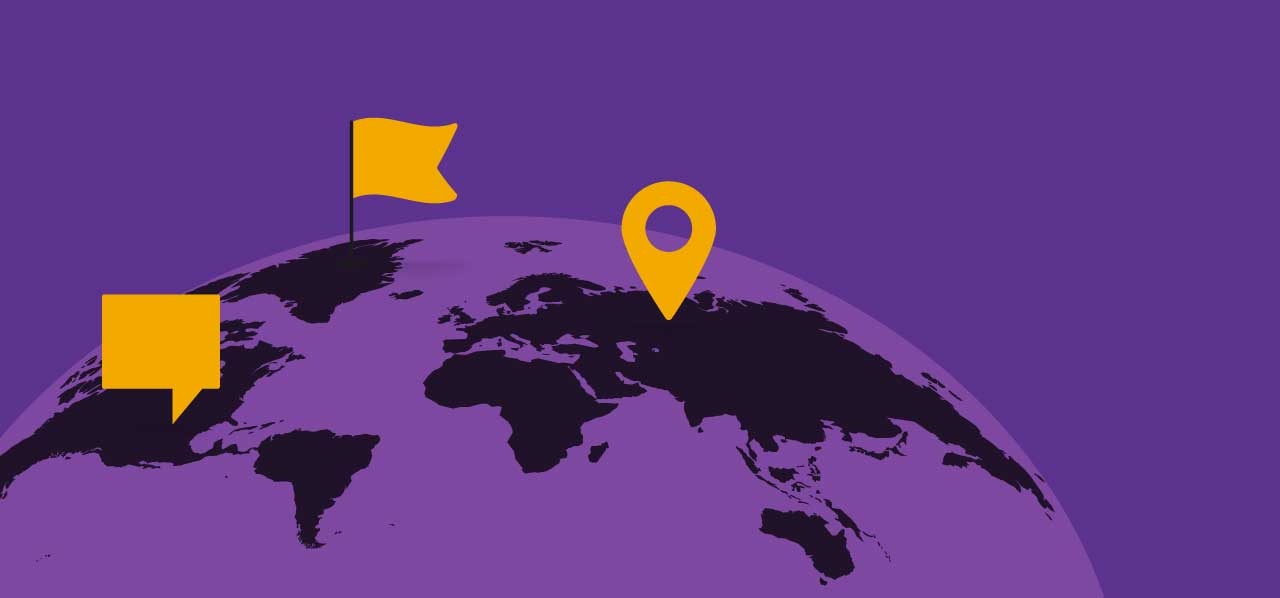 Black and purple graphic of the globe