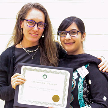 Laurier recognized with University Partner Award by Muslim Social Services