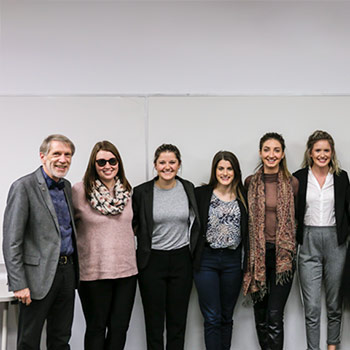 Image of Laurier professor Edmund Pries with five SE400 students.