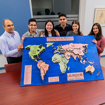Students with map