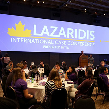 Images of students sitting at conference tables.
