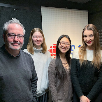 French students with CBC radio host Craig Norris