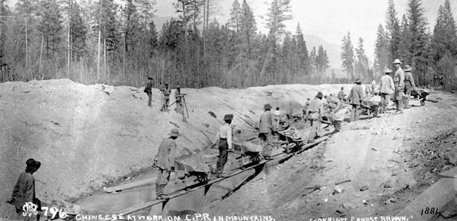 Chinese workers working on Canadian Pacific Railway